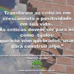 Transforme as críticas em crescimento e positividade em sua vida…